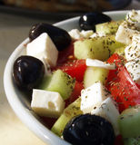 Greek salad. Bowl of salad with cheese and olives Stock Photography