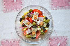 Greek salad from above Royalty Free Stock Photos