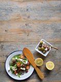 Greek salad with background space Royalty Free Stock Images