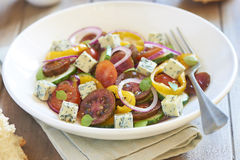 Greek salad with blue cheese Stock Images
