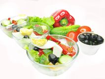 Greek salad in bowls Royalty Free Stock Photography