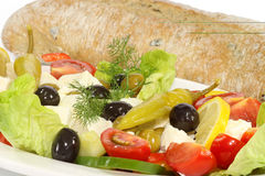 Greek salad with bread Stock Photos