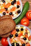 Greek Salad with Brown Bread Stock Image