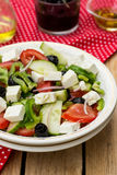Greek salad bulgarian salad with summer vegetables, olives and f Royalty Free Stock Photo
