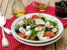 Greek salad bulgarian salad with summer vegetables, olives and f Stock Image