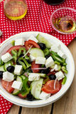 Greek salad bulgarian salad with summer vegetables, olives and f Royalty Free Stock Photography