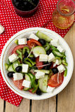 Greek salad bulgarian salad with summer vegetables, olives and f Stock Photo