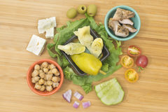 Greek Salad with Chicken & Artichoke Hearts ingredients Stock Image
