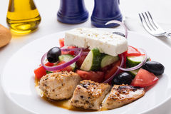 Greek salad with chicken Stock Image