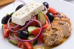 Greek salad with chicken Stock Photography