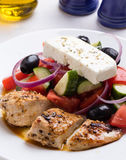 Greek salad with chicken Royalty Free Stock Image