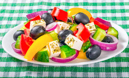 Greek salad, classic recipe, close-up, macro Stock Photo