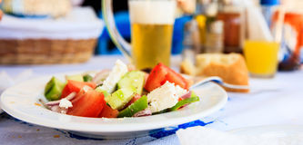 Greek salad close up at a greek traditional tavern Stock Images