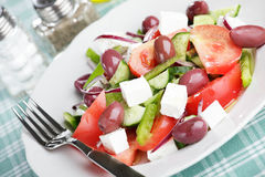 Greek salad closeup Stock Images