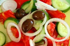 Greek salad closeup. Bautiful and healthy colors on this crisp closeup of a traditional greek salad Stock Images