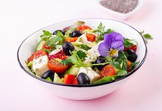 Greek salad with cucumber, tomato, sweet pepper, lettuce, green onion, feta cheese. Greek salad  with cucumber, tomato, sweet pepper, lettuce, green onion, feta royalty free stock photography