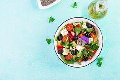 Greek salad with cucumber, tomato, sweet pepper, lettuce, green onion, feta cheese. Greek salad  with cucumber, tomato, sweet pepper, lettuce, green onion, feta royalty free stock images