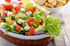 Greek salad with feta cheese black olives and bruscheta Royalty Free Stock Photography