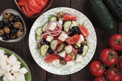 Greek salad with feta cheese Stock Photos