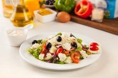 Greek salad of feta cheese Stock Photos