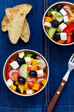 Greek salad. With feta cheese, olives and vegetables Royalty Free Stock Image