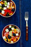 Greek salad. With feta cheese, olives and vegetables Stock Images