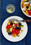Greek salad. With feta cheese, olives and vegetables Stock Photos