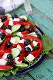Greek salad with feta cheese Stock Photos