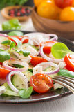 Greek salad with feta cheese, selective focus Royalty Free Stock Image
