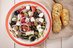 Greek salad with feta cheese Stock Photo