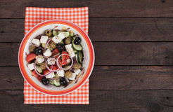 Greek salad with feta cheese Royalty Free Stock Images