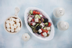 Greek salad with feta cheese Royalty Free Stock Photos