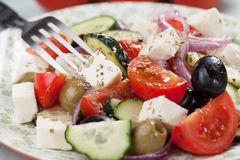 Greek salad with feta cheese Royalty Free Stock Photo