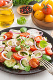 Greek salad with feta cheese, vertical Stock Image