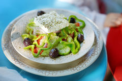 Greek salad with feta, green pepper and olives Royalty Free Stock Image