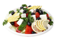 Greek salad with fetaki. Greek mix salad with fetaki and olives Royalty Free Stock Photos