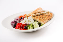 Greek salad. With flat bread and olive oil Stock Photo