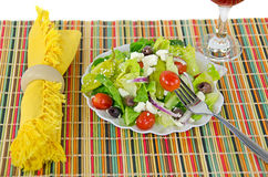 Greek salad with fork Royalty Free Stock Photography