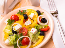 Greek salad and fork Royalty Free Stock Image
