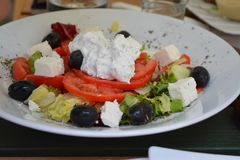 Greek salad with fresh products royalty free stock photography