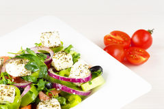 Greek salad with fresh tomato, cucumber, red onion, basil, feta cheese, black olives, Italian herbs and olive oil in white dish on Royalty Free Stock Photos