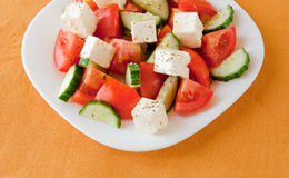 Greek salad with fresh vegetables with cheese Stock Photography