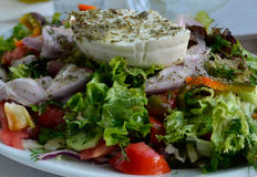 Greek salad with fresh vegetables close up Stock Photo