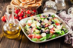 Greek salad with fresh vegetables Stock Photo
