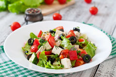 Greek salad with fresh vegetables Royalty Free Stock Images