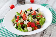 Greek salad with fresh vegetables Royalty Free Stock Photo