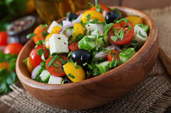 Greek salad with fresh vegetables Stock Images