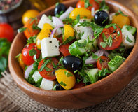 Greek salad with fresh vegetables Stock Photography