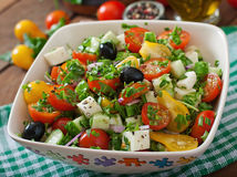 Greek salad with fresh vegetables Royalty Free Stock Photography