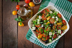 Greek salad with fresh vegetables Royalty Free Stock Image